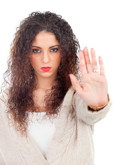 Angry woman with curly hair saying Stop