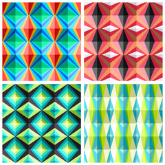 Seamless patterns in a cage in retro colours