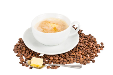 Coffee with milk and added butter