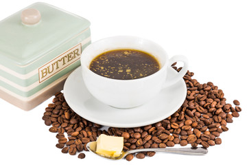 Black coffee with added butter