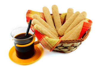 Ladyfinger - savoiardi biscuits and coffee