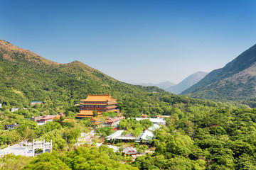 View of the Po Lin Monastery and landscape of Lantau Island, in