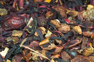 Macro view of organic tea mix