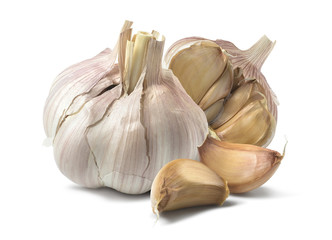 Natural garlic isolated on white background
