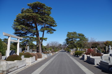 鳥居のある墓地