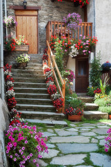 Staircase with plants and flowers
