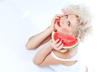 woman with watermelon, white background