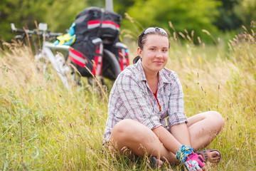 Woman, travel, bike