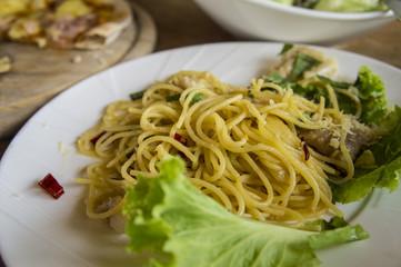 food pizza spaghetti carbonara lunch hungry dinner taste