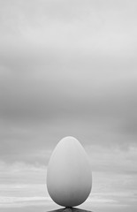 Egg form in a roof top with sky background