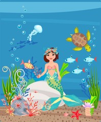 Mermaid and coral reef