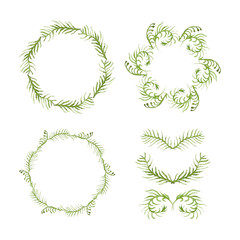 Set of round frames and vignettes made of watercolor ferns.