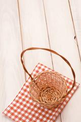 Basket on picnic table