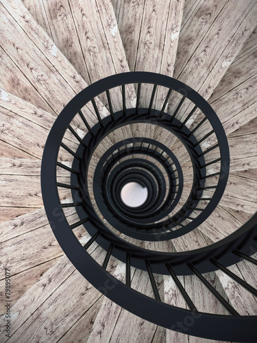 Poster Trappen Spiral stairs with black balustrade