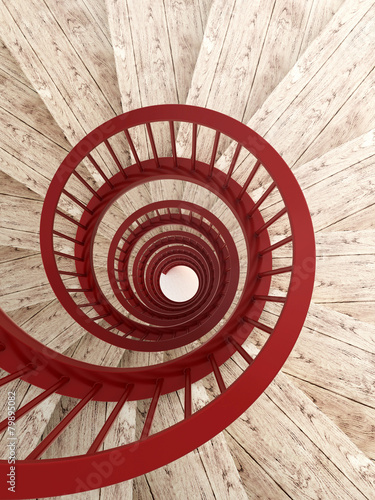 Foto op Aluminium Trappen Spiral stairs with red balustrade