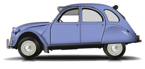 Voiture Vintage bleu Version 2 fenetre ouverte