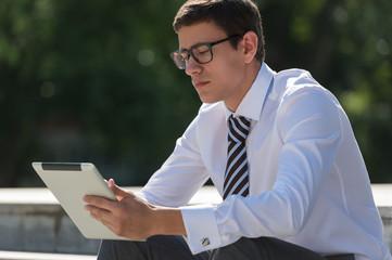 Man using tablet computer