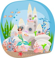 Mermaid and underwater castle