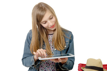 teenage girl with a digital tablet