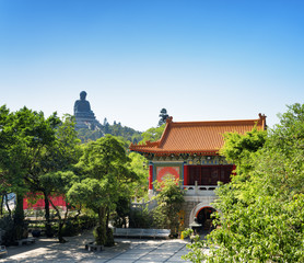 Courtyard of the Po Lin Monastery and the Tian Tan Buddha in the