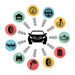 Car parts vector icons