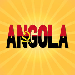 Angola flag text with sunburst illustration