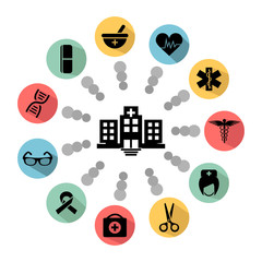 Clinic and hospital vector icon set