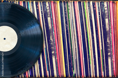 canvas print picture Vinyl record with copy space, vintage process