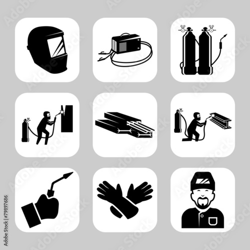 Vector welding related icon set - 79897686