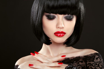 Fashion model girl face, beauty woman makeup and red manicure. B