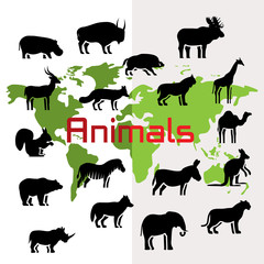 Vector animals silhouettes on world map, flat style