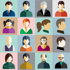 Vector avatar icons, flat style