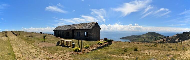 House at Lake Titicaca between Bolivia and Peru