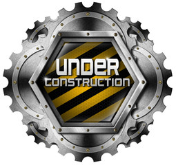Under Construction - Metal Icon with Gears
