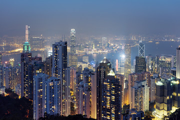 Beautiful view of Hong Kong city from the Victoria Peak at eveni