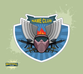 paintball logo emblem. paintball guns and Wings. Mortal Heraldry