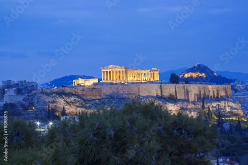 Fotobehang Athene Acropolis with Parthenon temple in Athens, Greece