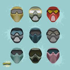 paintball protection mask set