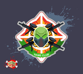 Paintball team logo and emblem. scary skull  in paintball  mask