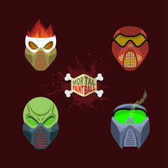 Set  paintball mask. Vector illustration