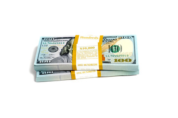 Dollar stack isolated on a white background