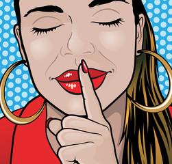 Pop Art Style Sshhh Girl Plain.