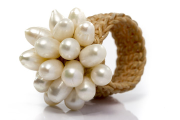 Old Pearls Ring Weave in White background