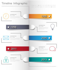 Design simple step number of years and business icon timeline/gr