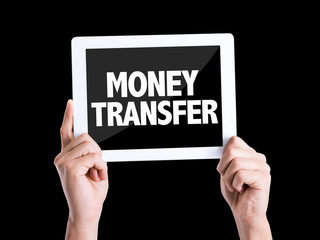 Tablet pc with text Money Transfer isolated on black background