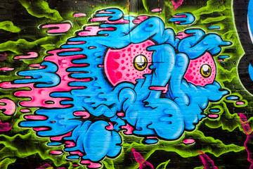 Ugly monster face graffiti