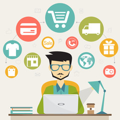 online shopping, electronic commerce concept