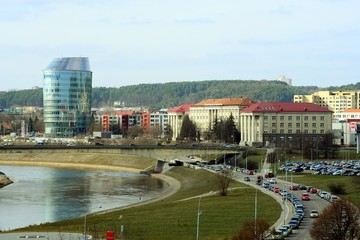Vilnius city panorama with Barclays bank