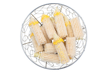 Corncop in Steel basket on white background  or isolate