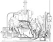 Wire-frame industrial equipment engine. EPS 10 vector format - 79901609